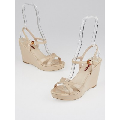 Prada Nude Patent Leather Ankle-Strap Wedge Sandals Size 7.5/38
