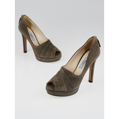 Prada Grey Suede Pleated Peep-Toe Pumps Size 7/37.5