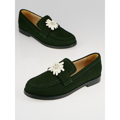 Chanel Green Felt Camellia Loafers Size 7.5/38