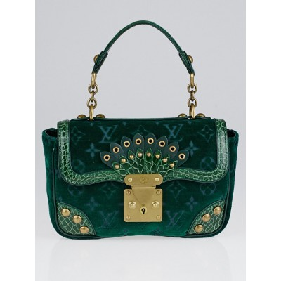 Louis Vuitton Limited Edition Vert Velours Alligator Irvine Bag