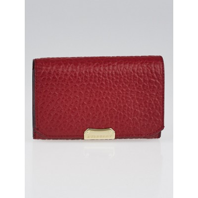 Burberry Red Textured Leather Compact Wallet