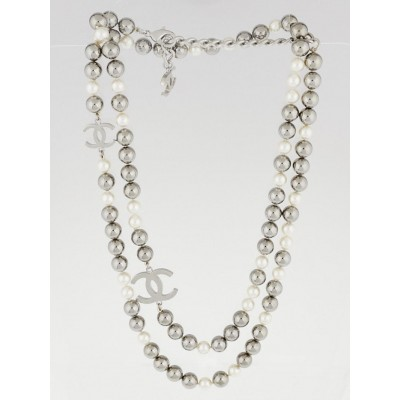 Chanel Grey and White Beaded Double CC Long Necklace