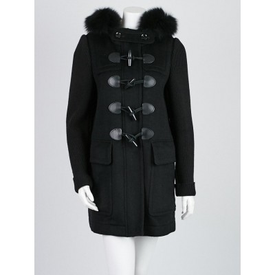 Burberry Brit Black Wool and Fox Fur Trim Hooded Toggle Coat Size 6