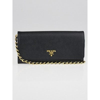 Prada Black Saffiano Metal Leather Wallet on Chain Clutch Bag 1MT290