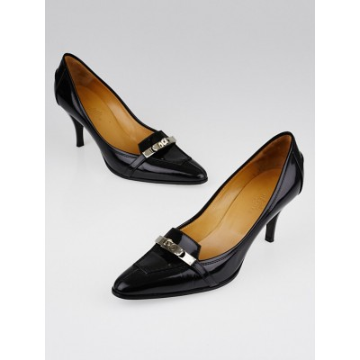 Hermes Black Patent Leather Kelly Pumps Size 7/37.5