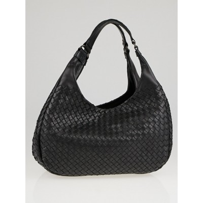 Bottega Veneta Black Woven Leather Medium Campana Bag
