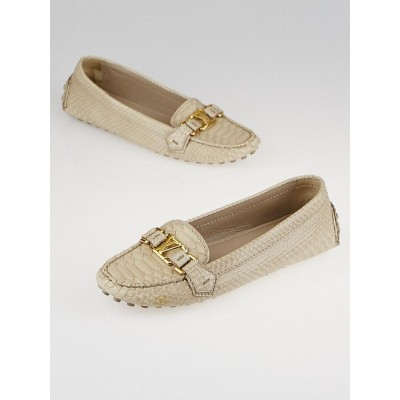 Louis Vuitton Beige Python Monte Carlo Moccasin Loafers Size 9.5/40