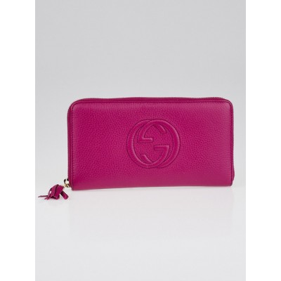 Gucci Pink Pebbled Leather Soho Zippy Organizer Wallet
