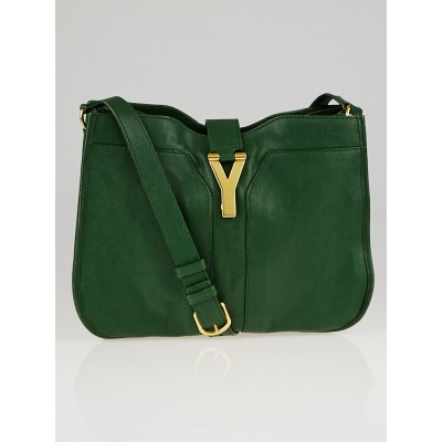 Yves Saint Laurent Tartan Green Leather Medium Cabas ChYc Shoulder Bag