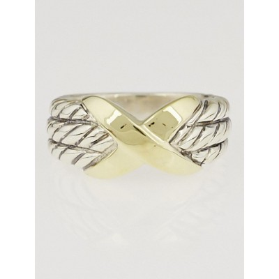 David Yurman Sterling Silver and 18k Gold X Triple-Row Ring Size  6.5