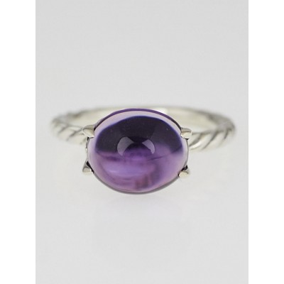 David Yurman Amethyst and Sterling Silver Cable Classics Ring Size 6.5