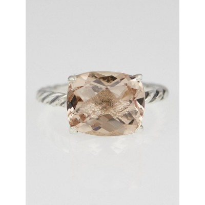 David Yurman Morganite and Sterling Silver Cable Classics Ring Size 6.5