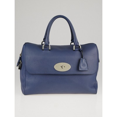 Mulberry Blue Grained Leather Del Rey Satchel Bag
