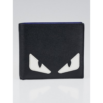 Fendi Black Textured Leather Monster Creature Wallet