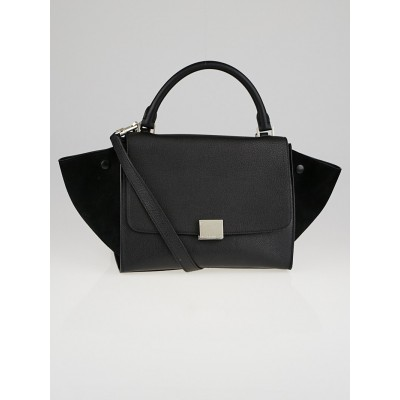 Celine Black Pebbled Calfskin Leather and Suede Small Trapeze Bag