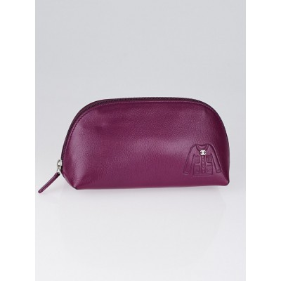 Chanel Purple Leather Jacket Embossed Cosmetic Bag