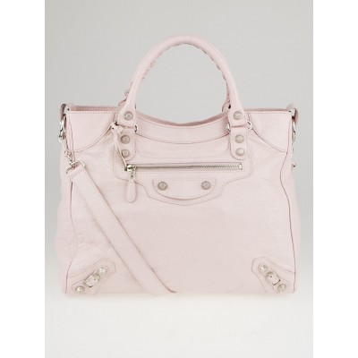 Balenciaga Rose Poudre Lambskin Leather Giant 12 Silver Velo Bag