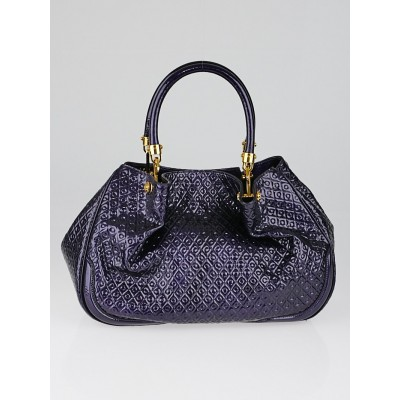 Tod's Purple Embossed Patent Leather Signature Racing Sacca Piccola Bag
