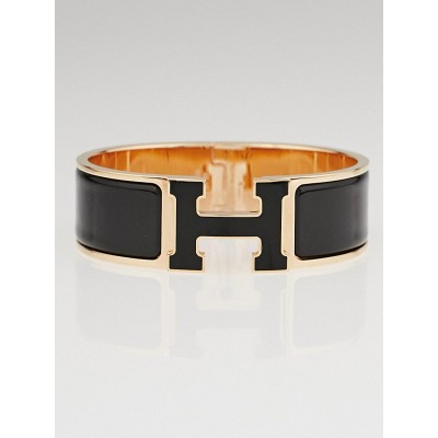 Hermes Black Enamel Rose Gold Plated Clic-Clac H GM Wide Bracelet