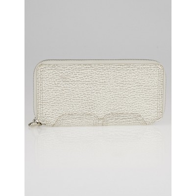 3.1 Phillip Lim Light Ivory Shark Embossed Leather Pashli Zip Around Wallet