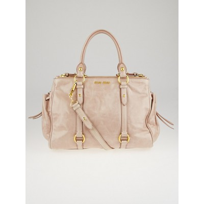 Miu Miu Cipria Vitello Lux Leather Zip Tote Bag RN0894
