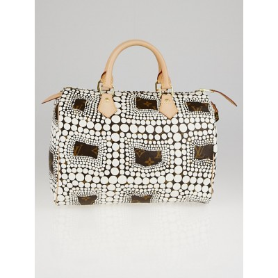 Louis Vuitton Limited Edition White Yayoi Kusama Monogram Town Speedy 30 Bag