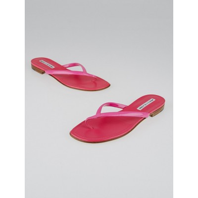 Manolo Blahnik Pink Leather Thong Sandals Size 5.5/36