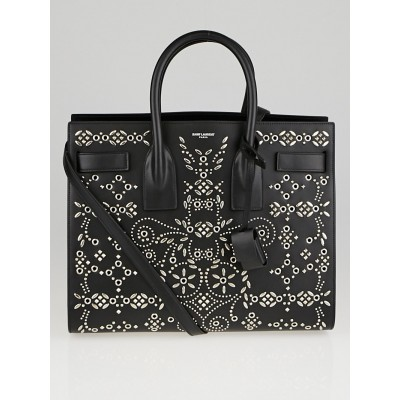 Yves Saint Laurent Black Calfskin Leather Studded Small Sac de Jour Tote Bag