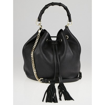Gucci Black Pebbled Leather Miss Bamboo Bucket Bag