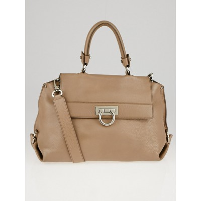 Salvatore Ferragamo Light Brown Pebbled Leather Medium Sofia Bag