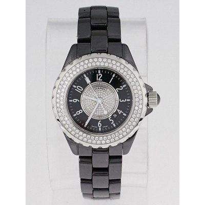 Chanel Black J12 Ceramic and Diamonds 33mm Quartz Watch H1708