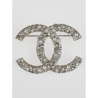 Chanel Silvertone and Crystal CC Brooch