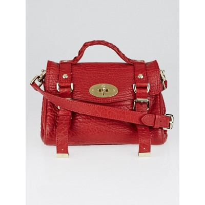 Mulberry Red Shrunken Calf Leather Mini Alexa Satchel Bag