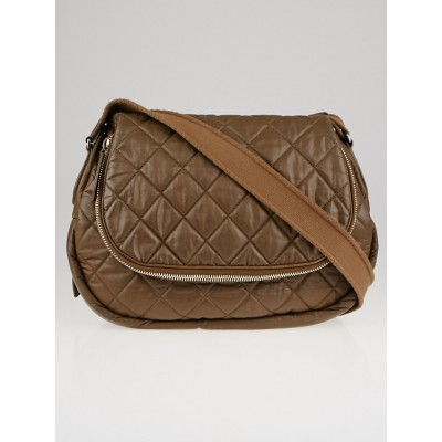 Chanel Taupe Quilted Coated Canvas Large Messenger Bag