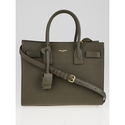 Yves Saint Laurent Dark Grey Grained Leather Baby Sac de Jour Bag