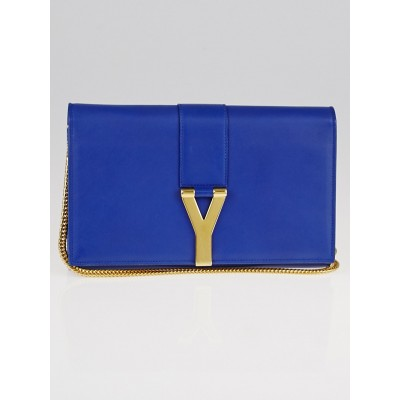 Yves Saint Laurent Royal Blue Calfskin Leather Classic Y Chain Wallet Crossbody Bag