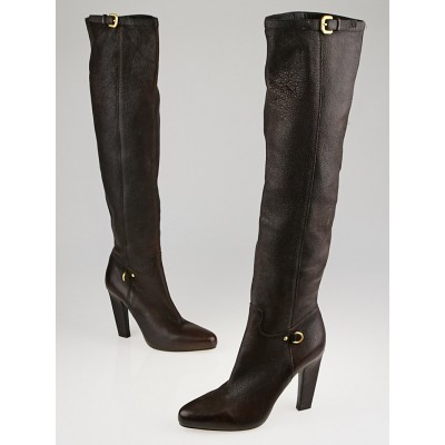 Prada Brown Leather Tall Buckle Boots Size 7.5/38
