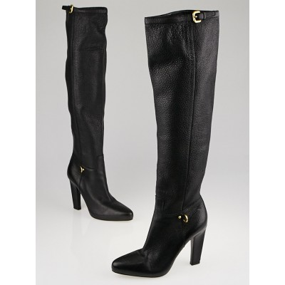 Prada Black Leather Tall Buckle Boots Size 7.5/38
