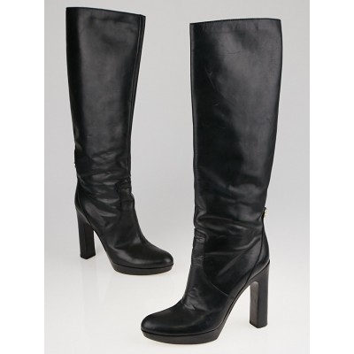 Gucci Black Leather Tall Platform Boots Size 7/37.5