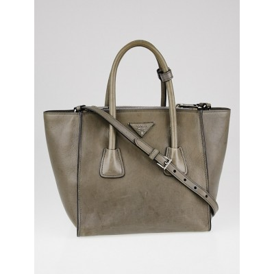 Prada Marmo Glace Calfskin Leather Twin Pocket Double Handle Tote Bag BN2625