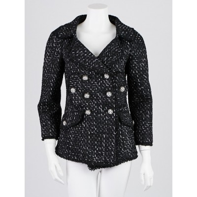 Chanel Black Cotton/Silk Blend Tweed Jacket Size 6/38