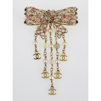 Chanel Multicolor Gripoix Poured Glass and Faux Pearl Bow Brooch