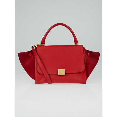 Celine Red Pebbled Leather and Suede Small Trapeze Bag