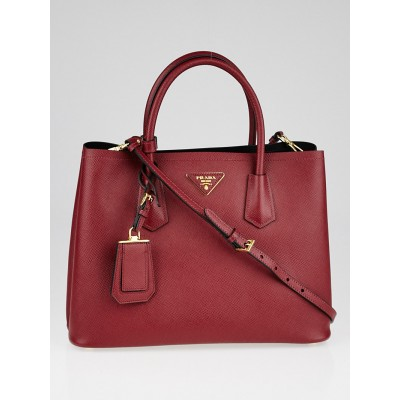Prada Cerise Saffiano Leather Double Handle Tote Bag BN2775