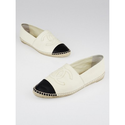 Chanel Black/White Leather CC Espadrille Flats Size 7.5/38