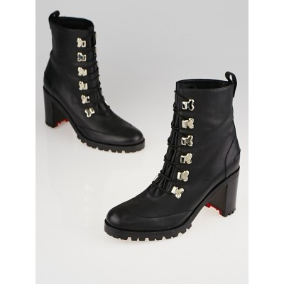 Christian Louboutin Black leather Country Croche 70 Boots Size 7.5/38