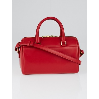 Yves Saint Laurent Red Smooth Calfskin Leather Classic Baby Duffle Bag
