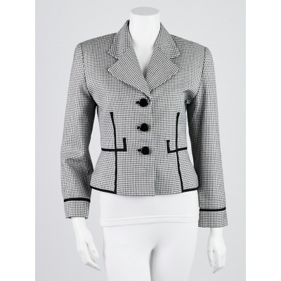 Christian Dior Black/White Hound's-tooth Silk Blazer Size 4