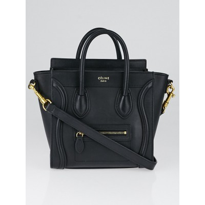 Celine Black Smooth Calfskin Leather Nano Luggage Tote Bag