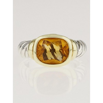 David Yurman Citrine Sterling Silver and 14k Gold Nobelesse Ring Size 6